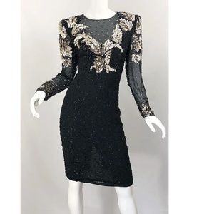 Niteline vintage sequin beaded silk dress size 6